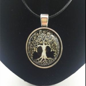Golden Tree of Life Glass/Tibetan Silver Necklace